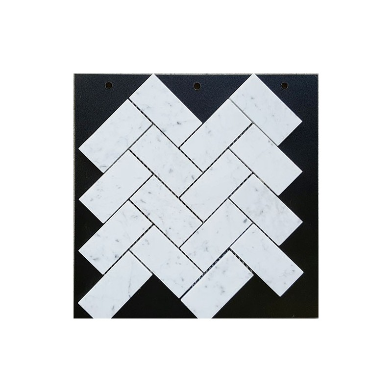 Carrara Herringbone Honed Marble Mosaic 48x98