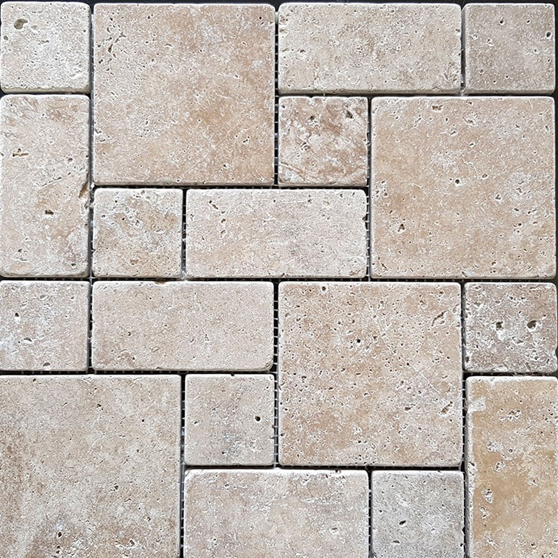 Classico French Pattern Tumbled Travertine Mosaic