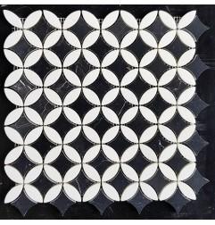 Round Star Nero Marquina & Thassos Honed Marble Mosaic