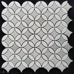 Round Star Green Celeste & Thassos Honed Marble Mosaic