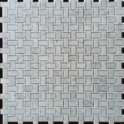 Basketweave Carrara Honed & Thassos Polished Marble Mosaic