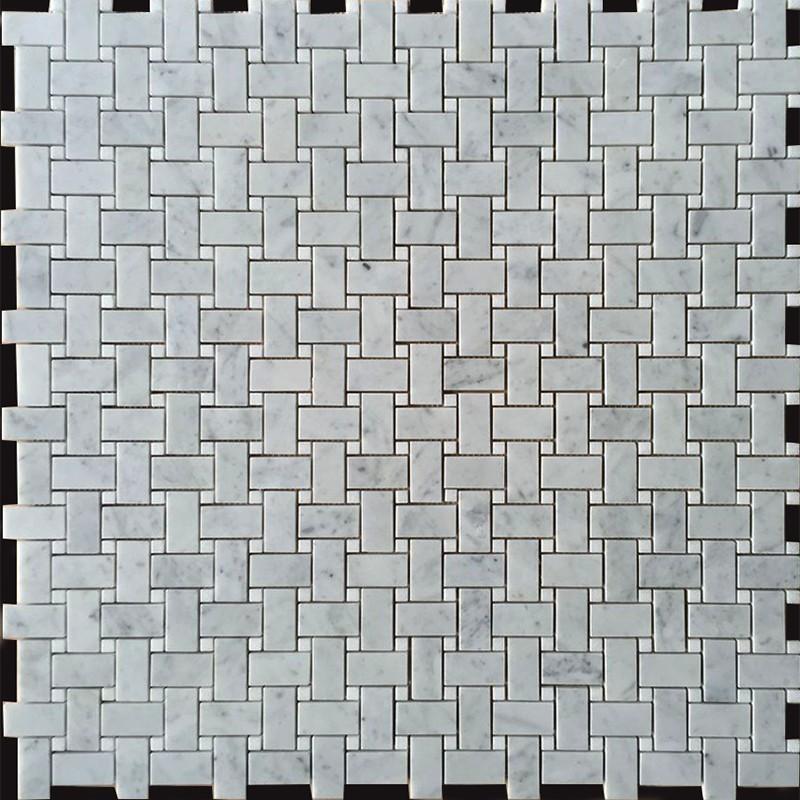 Carrara D Honed Basket Weave & Thassos Dot Polished Marble Mosaic 25x48