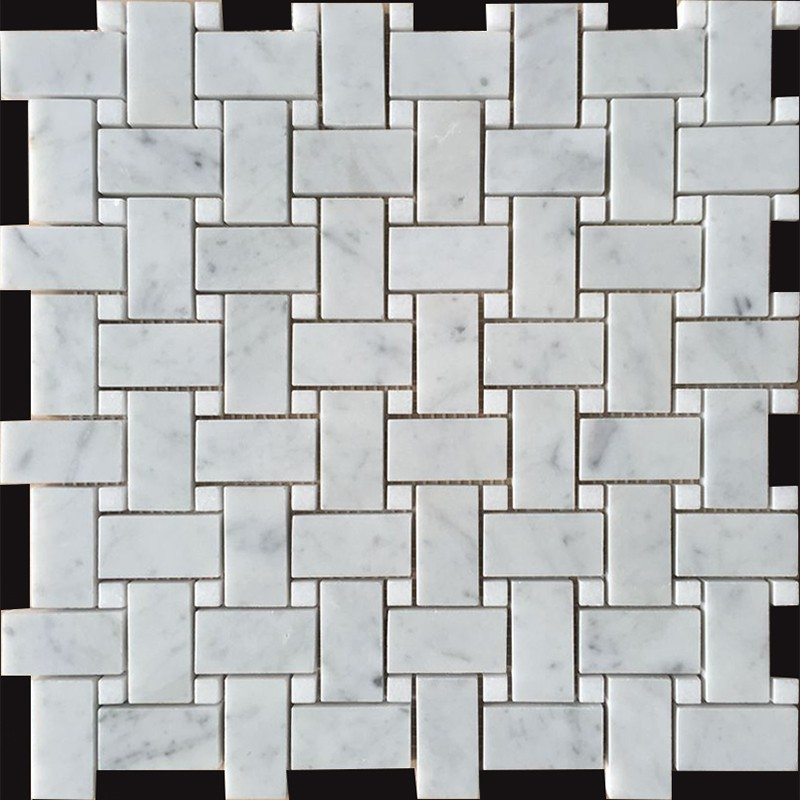 Carrara D Honed Basket Weave & Thassos Dot Polished Marble Mosaic 25x48