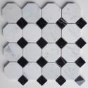 Octagon Carrara & Nero Marquina Dot Polished Marble Mosaic