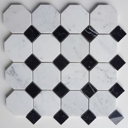 Octagon Carrara & Nero Marquina Dot Polished Marble Mosaic