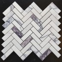 New York Herringbone Honed Marble Mosaic 20x64