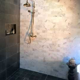 Calacatta Oro Honed Subway Sheeted Marble