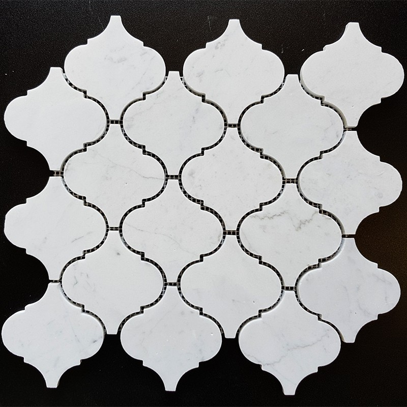 Carrara Arabesque Honed Marble Mosaic 97x102