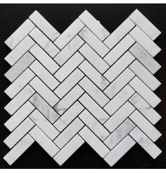 Calacatta Statuario Herringbone Honed Marble Mosaic 20x64