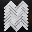 Calacatta Statuario Herringbone Honed Marble Mosaic 25x98