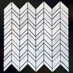 Chevron Carrara Honed Marble Mosaic