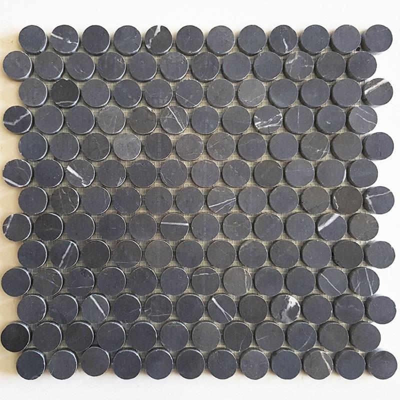 Pietra Grey Penny Round Honed Limestone Mosaic
