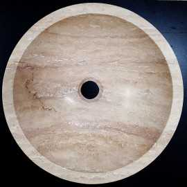 Natural Stone Classico Basins Travertine - Vein Cut - Round Basin - Honed