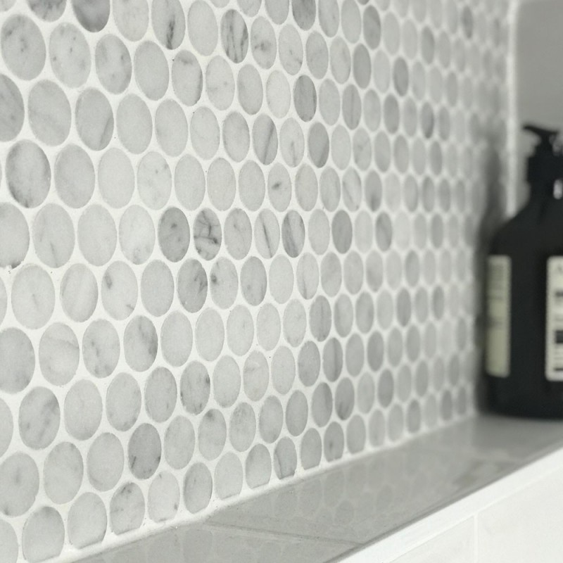 Carrara Penny Round Honed Marble Bathroom Mosaic