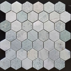 Green Celest Hexagon Honed Marble Mosaic 48x48
