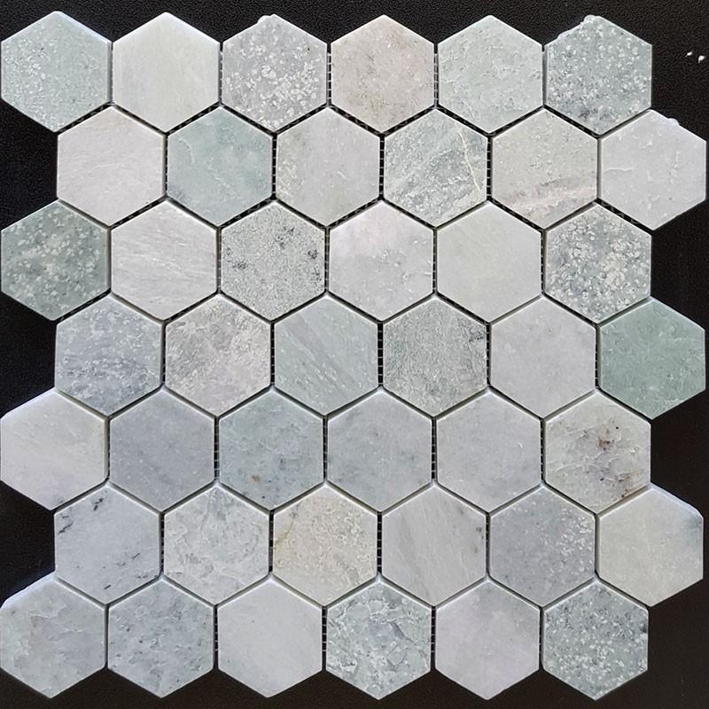 Green Celest Hexagon Honed Marble Mosaic 48x48