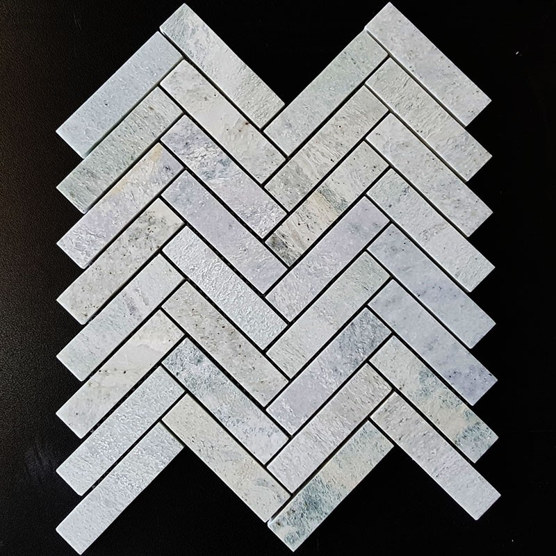 Green Celest Herringbone Honed Marble Mosaic 25x98