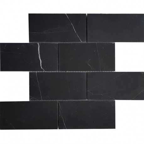 Nero Marquina Honed Subway Sheeted Marble