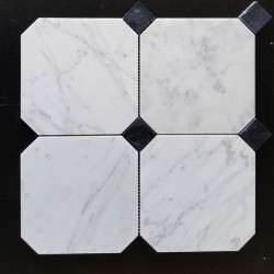 Octagon Carrara & Nero Marquina Dot Honed Marble Mosaic