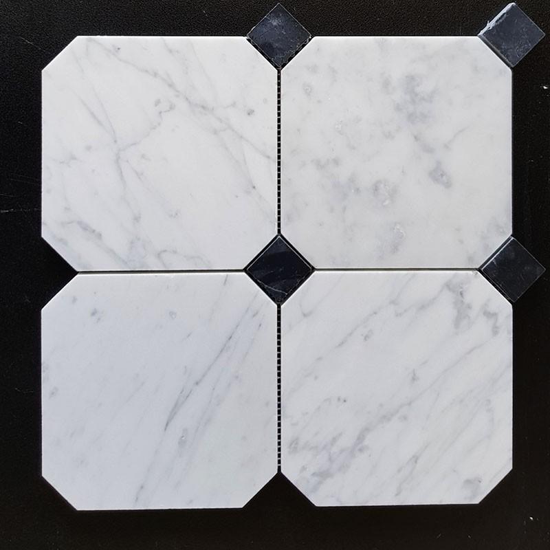 Octagon Carrara & Nero Marquina Dot Honed Marble Mosaic