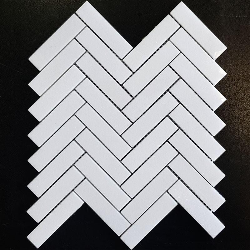 Thassos Herringbone Polished Marble Mosaic 25x98
