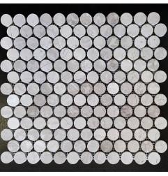 Serpeggiante Bianco Penny Round Honed Limestone Mosaic 23x23
