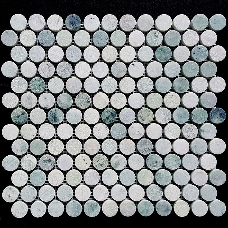 Carrara Penny Round Honed Marble Mosaic 23x23