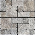 Silver French Pattern Tumbled Travertine Mosaic