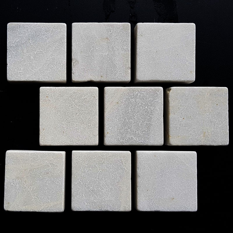 Persian White Tumbled Brick Pattern Cobblestone Marble