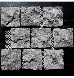 Diamond Black Natural Split Brick Pattern Cobblestone Granite