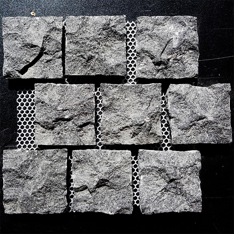Diamond Black Natural Split Brick Pattern Cobblestone Granite