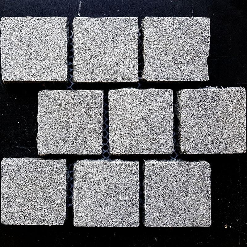 Cobblestone Diamond Grey Flamed Granite Sheeted-G654