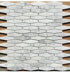 Long Hexagon Carrara Honed Marble Mosaic