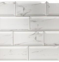 Spanish Pisa Marble Gloss Bevelled Subway Ceramic 200x100