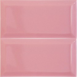 Spanish Rosa Pink Gloss Bevelled Subway Ceramic 200x100