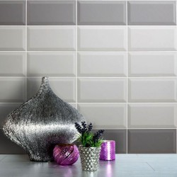 Spanish Pizarra Grey Gloss Bevelled Subway Ceramic 200x100