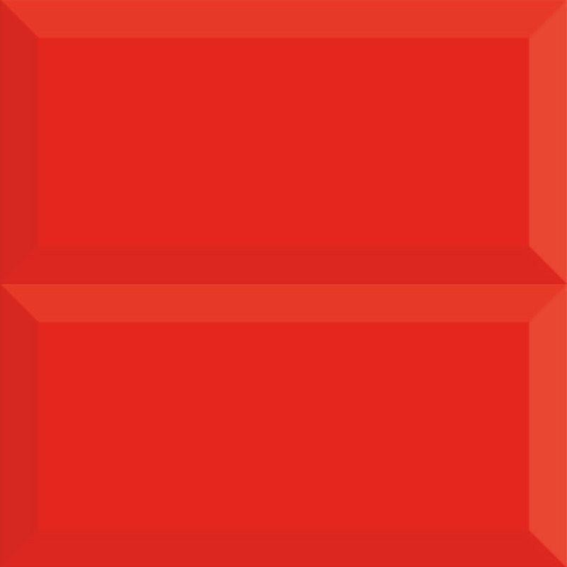 Spanish Red Gloss Bevelled Subway Ceramic 200x100