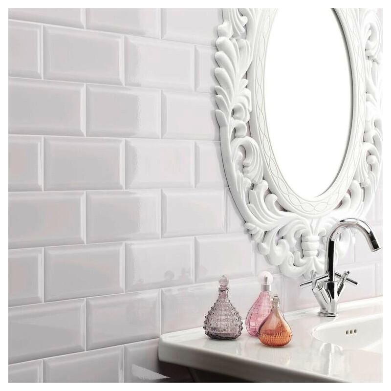 Spanish White Gloss Bevelled Subway Ceramic 200x100