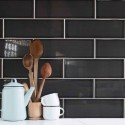 Spanish Liquorice Black Gloss Vermont Subway Ceramic 300x100