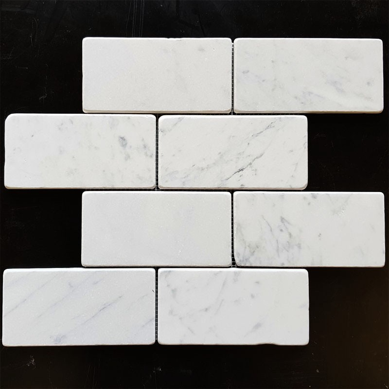 Carrara Tumbled Subway Sheeted Marble