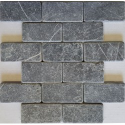Pietra Grey Brick Pattern Interlocking Tumbled Limestone Mosaic 100x50