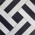 Zebra Basketweave Carrara & Nero Marquina Honed Marble Mosaic