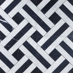 Zebra Basketweave Carrara & Nero Marquina Honed Marble Mosaic