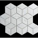 Carrara Diamond Cube Honed Marble Mosaic 55x95