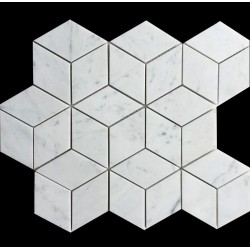Carrara Diamond Cube Honed Marble Mosaic 55x95