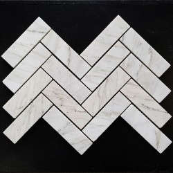 Persian White Herringbone Honed Marble Mosaic 128x40