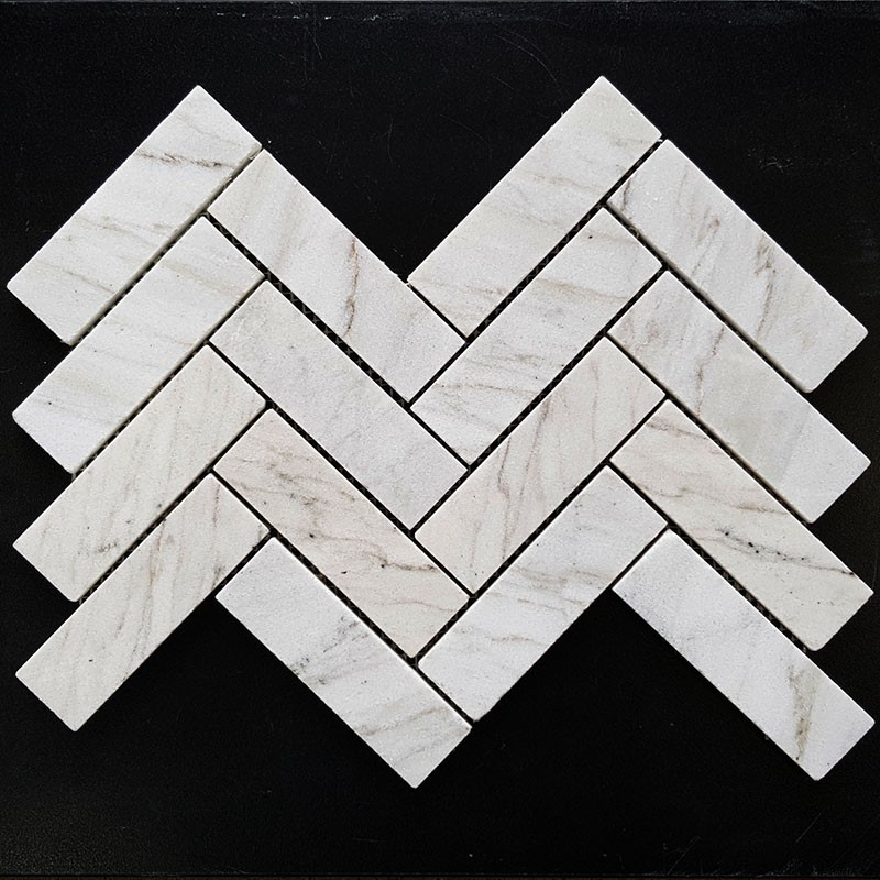 Persian White Herringbone Honed Marble Mosaic 128x40