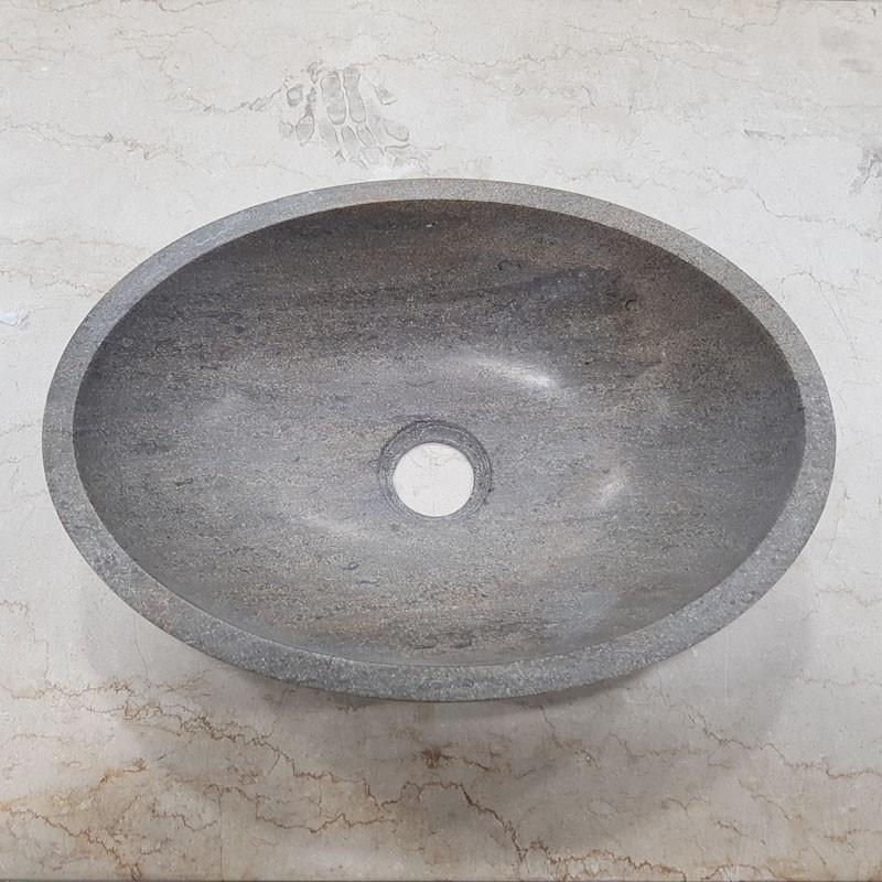 Pietra Mocha Honed Oval Basin Limestone