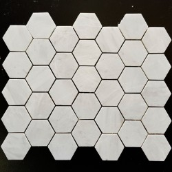 Bianca Luminous Hexagon Honed Marble Mosaic 48x48