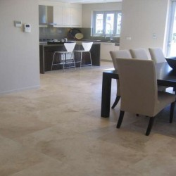 Travertine Classico Pompeii Tiles - Cross Cut - Epoxy Filled & Honed - Medium Shade